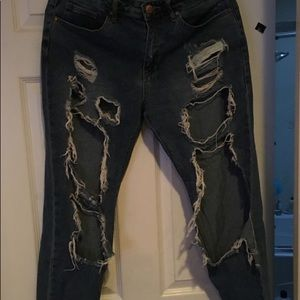 Cute Distressed Dark color Pants